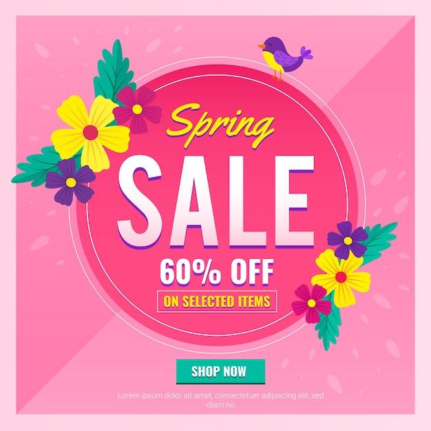 Platte lente verkoop banner met speciale aanbieding Gratis Vector