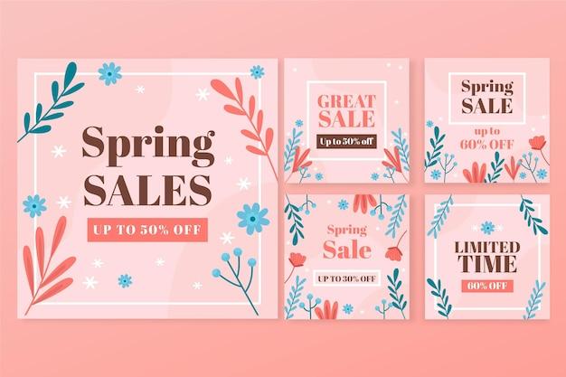 Platte lente verkoop instagram posts collectie Gratis Vector