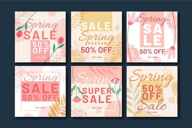 Platte lente verkoop instagram posts pack Gratis Vector