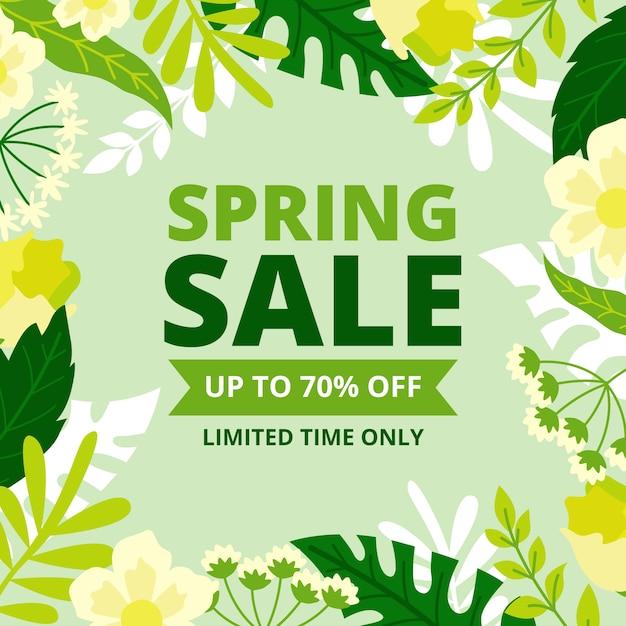 Platte lente verkoop met planten Gratis Vector