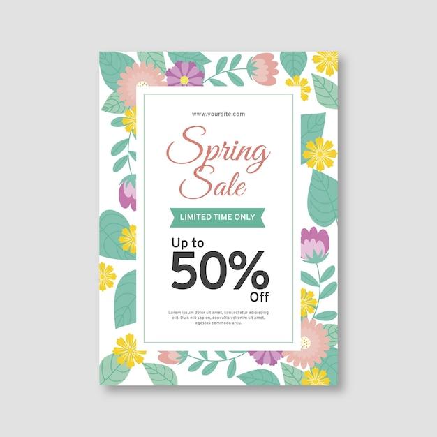 Platte lente verkoop sjabloon folder Gratis Vector