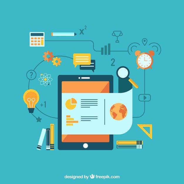 Platte leren achtergrond met tablet en educatieve benodigdheden Gratis Vector