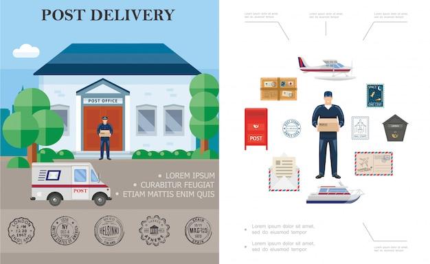 Platte levering kleurrijke samenstelling met postbode vlotter vliegtuig jacht postkantoor koeriers vrachtwagen postbus pakket en postzegels Gratis Vector