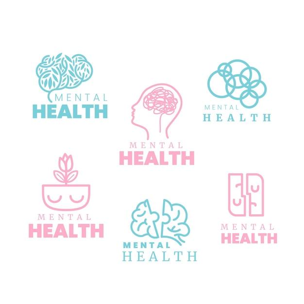 Platte logo-collectie voor geestelijke gezondheid Gratis Vector