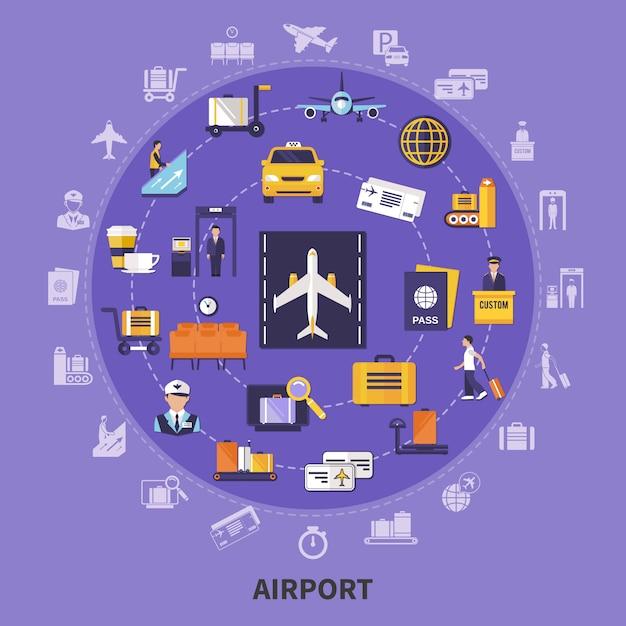 Platte luchthaven illustratie Gratis Vector
