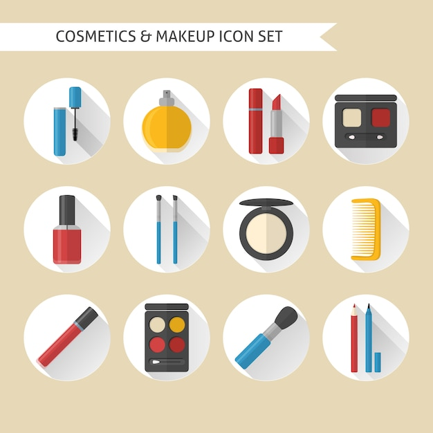 Platte make-up en cosmetica pictogrammen instellen Premium Vector