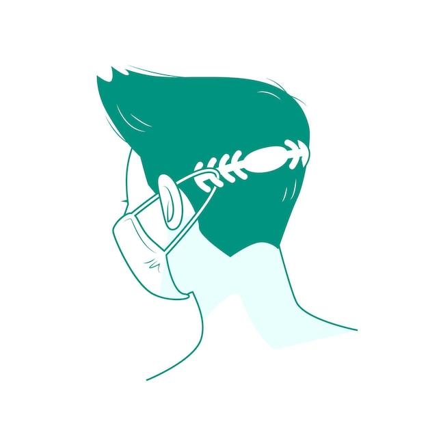 Platte man met een verstelbare medische maskerband Gratis Vector
