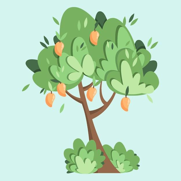 Platte mangoboom illustratie Gratis Vector