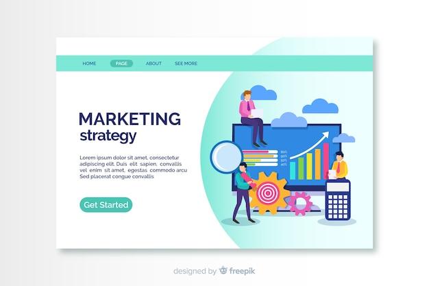 Platte marketing bestemmingspagina sjabloon Gratis Vector