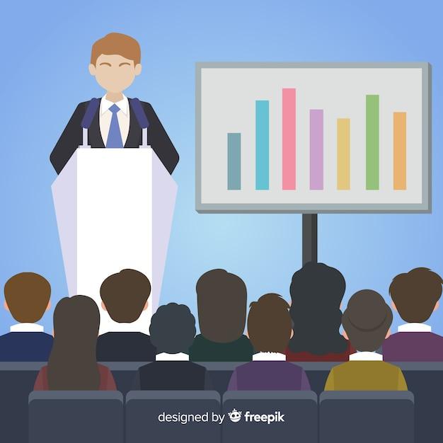 Platte marketing presentatie achtergrond Gratis Vector