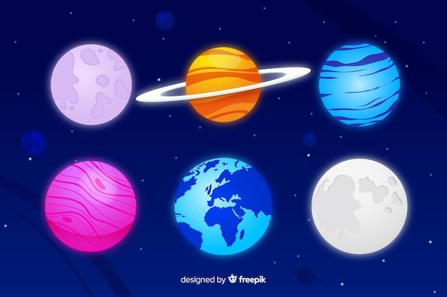 Platte melkwegplaneten Gratis Vector