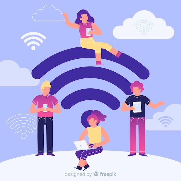 Platte mensen die een draadloos netwerk gebruiken Gratis Vector
