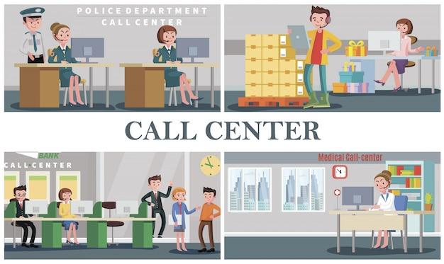 Platte mensen ondersteunen de samenstelling van de dienst met operators van de politie van de politie van de medische bank, pizza's bezorgen en callcenters voor cadeauwinkels Gratis Vector