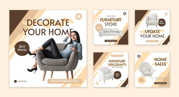 Platte meubels instagram postverzameling Gratis Vector