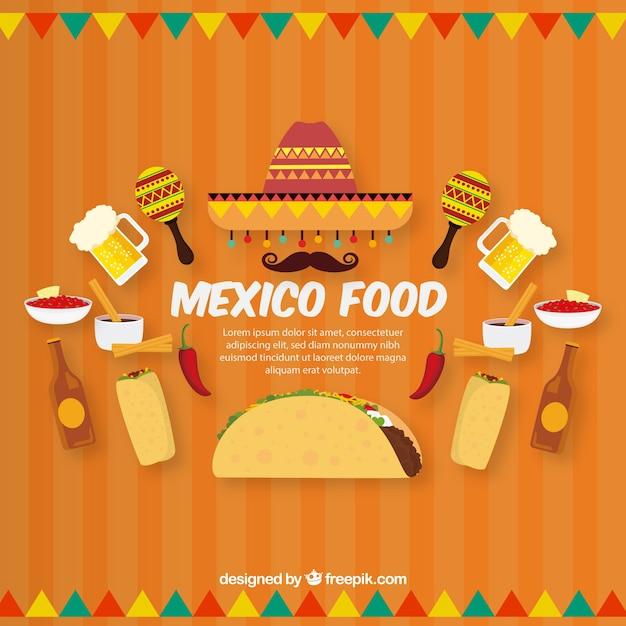 Platte mexicaanse voedsel achtergrond Gratis Vector