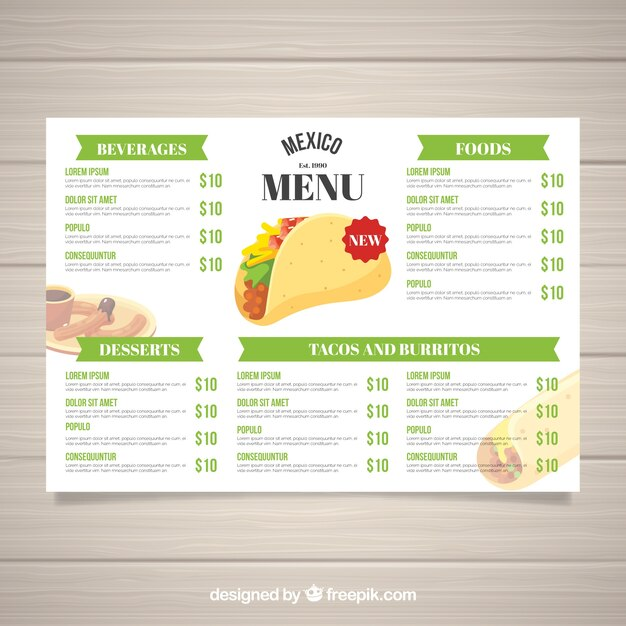 Platte mexicaanse voedsel menusjabloon Gratis Vector
