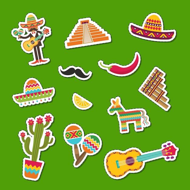 Platte mexico attributen sticker set illustratie Premium Vector