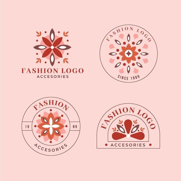 Platte mode-accessoires logo-collectie Premium Vector