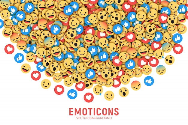Platte moderne facebook emoji-achtergrond Premium Vector