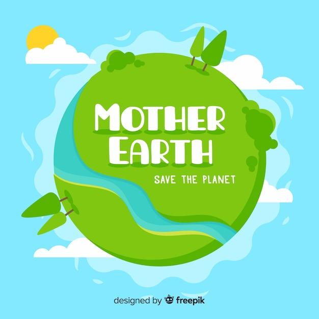 Platte moeder aarde dag achtergrond Gratis Vector