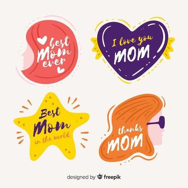Platte moederdag badge-collectie Gratis Vector
