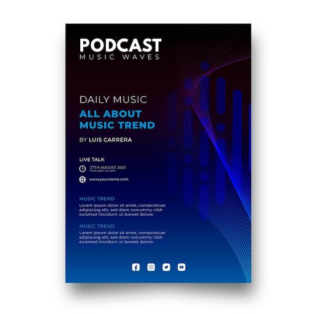 Platte muziek podcast poster sjabloon Gratis Vector