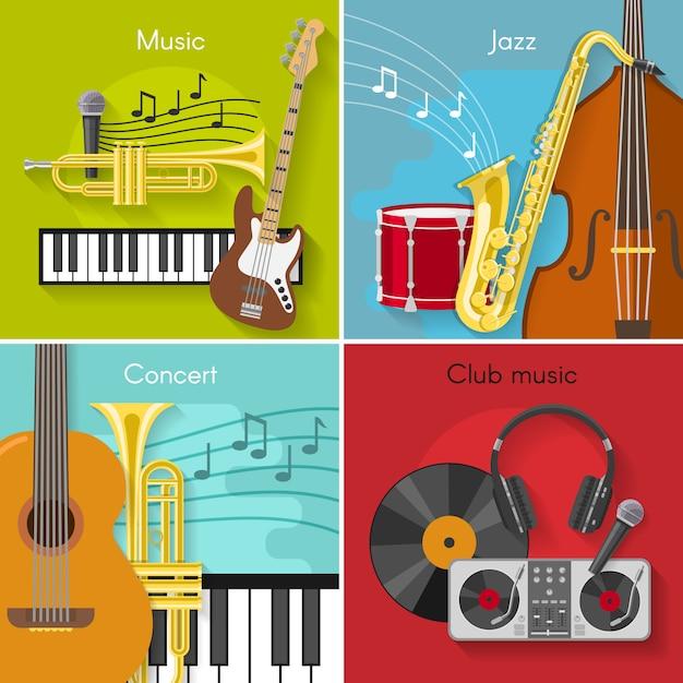 Platte muziekelementen instellen Gratis Vector
