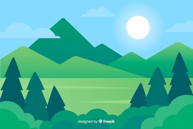 Platte natuurlijke achtergrond met landschap Gratis Vector