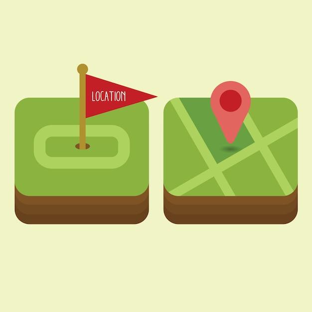 Platte navigatie icon set Premium Vector