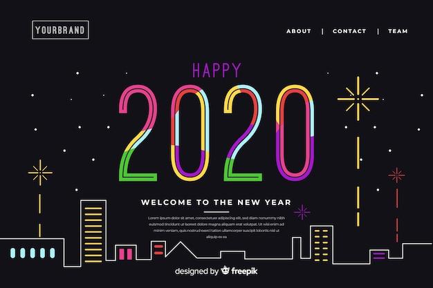 Platte nieuwe jaar bestemmingspagina met achtergrond Gratis Vector
