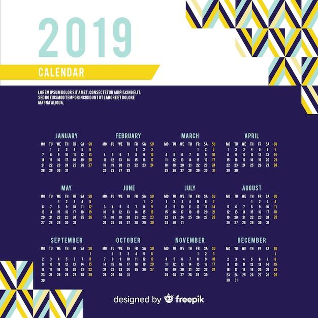Platte nieuwjaar 2019 kalender Gratis Vector