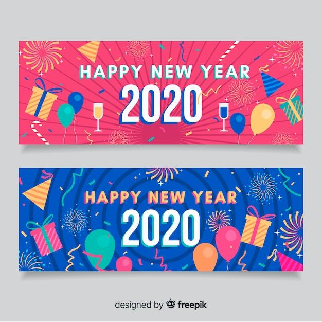 Platte nieuwjaar 2020 feestbanners in blauw en roze Gratis Vector