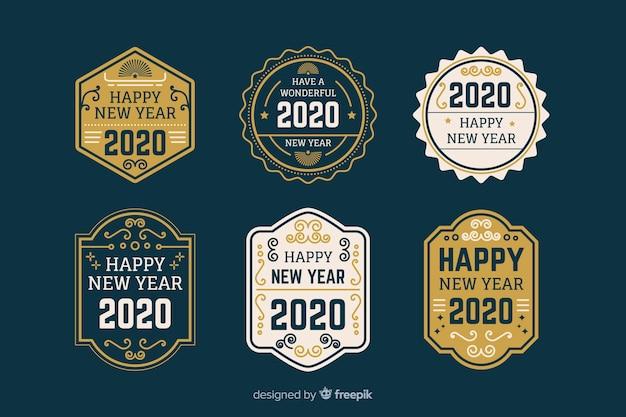 Platte nieuwjaar 2020 label- en badgecollectie Gratis Vector