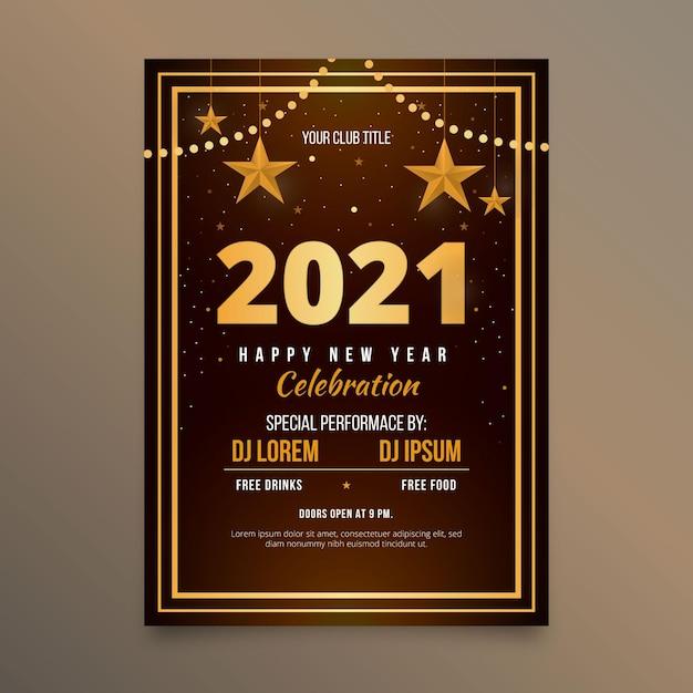Platte nieuwjaar 2021 partij poster sjabloon Gratis Vector