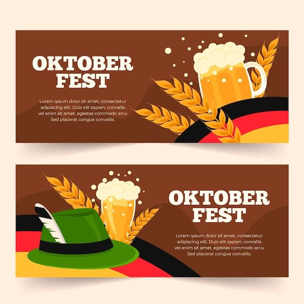 Platte oktoberfest banners collectie Gratis Vector