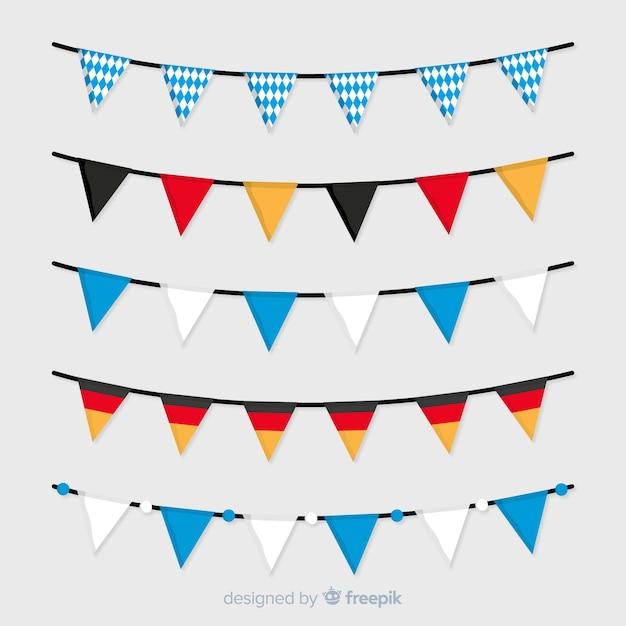 Platte oktoberfest nationale kleuren vlag slinger collectie Gratis Vector