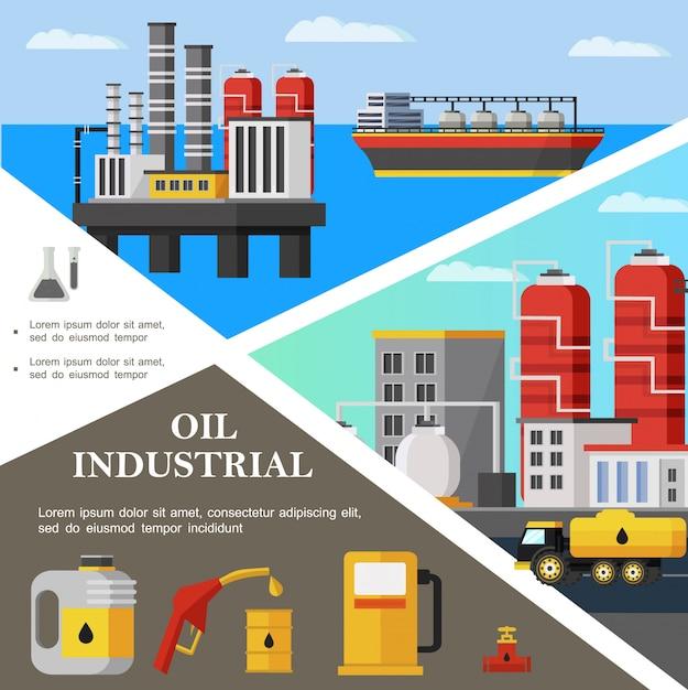 Platte olie-industrie kleurrijke sjabloon met tanker petrochemische plant brandstof vrachtwagen bus pijpleiding klep benzinestation pomp mondstuk Gratis Vector