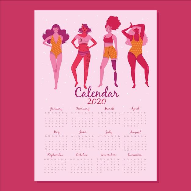 Platte ontwerp 2020 kalendersjabloon met groep vrouwen Gratis Vector