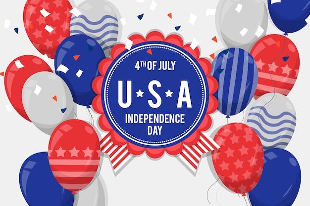 Platte ontwerp 4 juli ballon achtergrond Gratis Vector