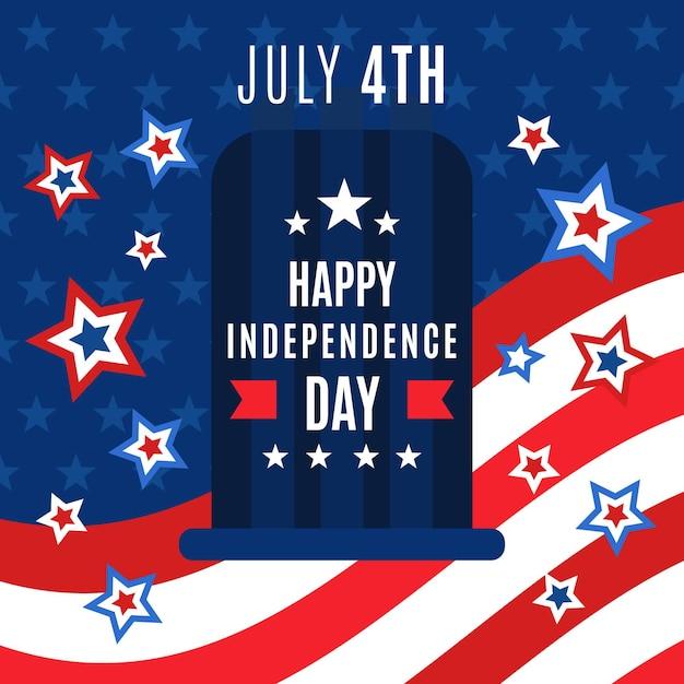 Platte ontwerp 4 juli - onafhankelijkheidsdag achtergrond Gratis Vector