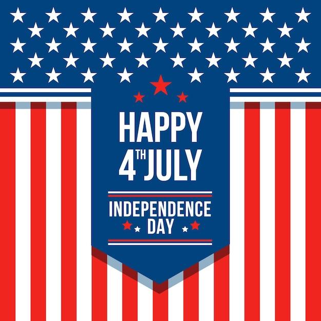 Platte ontwerp 4 juli - onafhankelijkheidsdag behang Gratis Vector