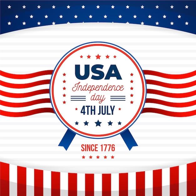 Platte ontwerp 4 juli viering Gratis Vector