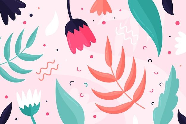 Platte ontwerp abstract floral achtergrond Gratis Vector