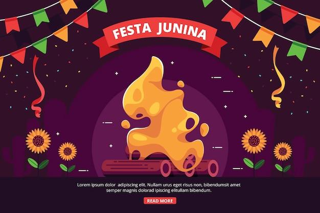Platte ontwerp achtergrond festa junina Gratis Vector