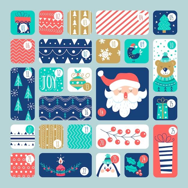 Platte ontwerp adventskalender met illustraties Gratis Vector