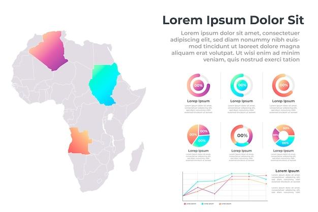 Platte ontwerp afrika kaart infographic Gratis Vector