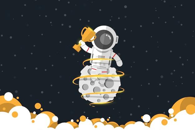 Platte ontwerp, astronaut houdt een gouden trofee zittend op de maan met gouden kleur rook, vectorillustratie, infographic element Premium Vector