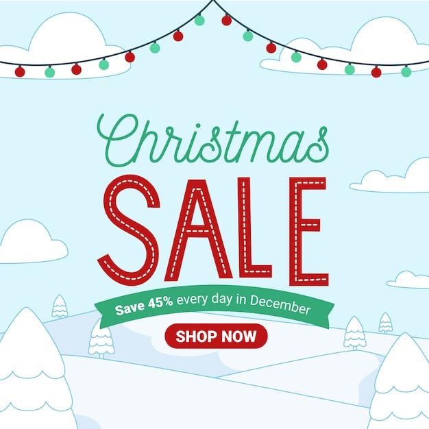 Platte ontwerp banner kerst verkoop Gratis Vector