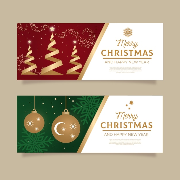 Platte ontwerp banners kerstsjabloon Gratis Vector