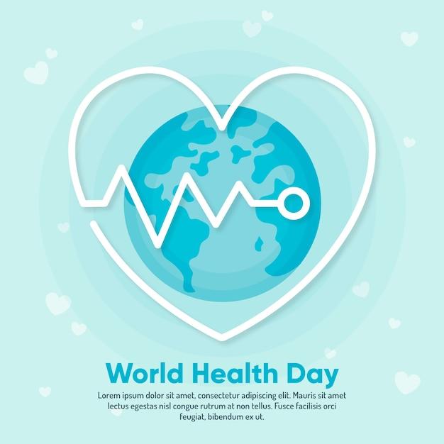 Platte ontwerp behang wereld gezondheid dag Gratis Vector